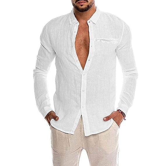 Hombre Camisetas Manga Larga Botón En Slim para Camisa Ocio Color ...