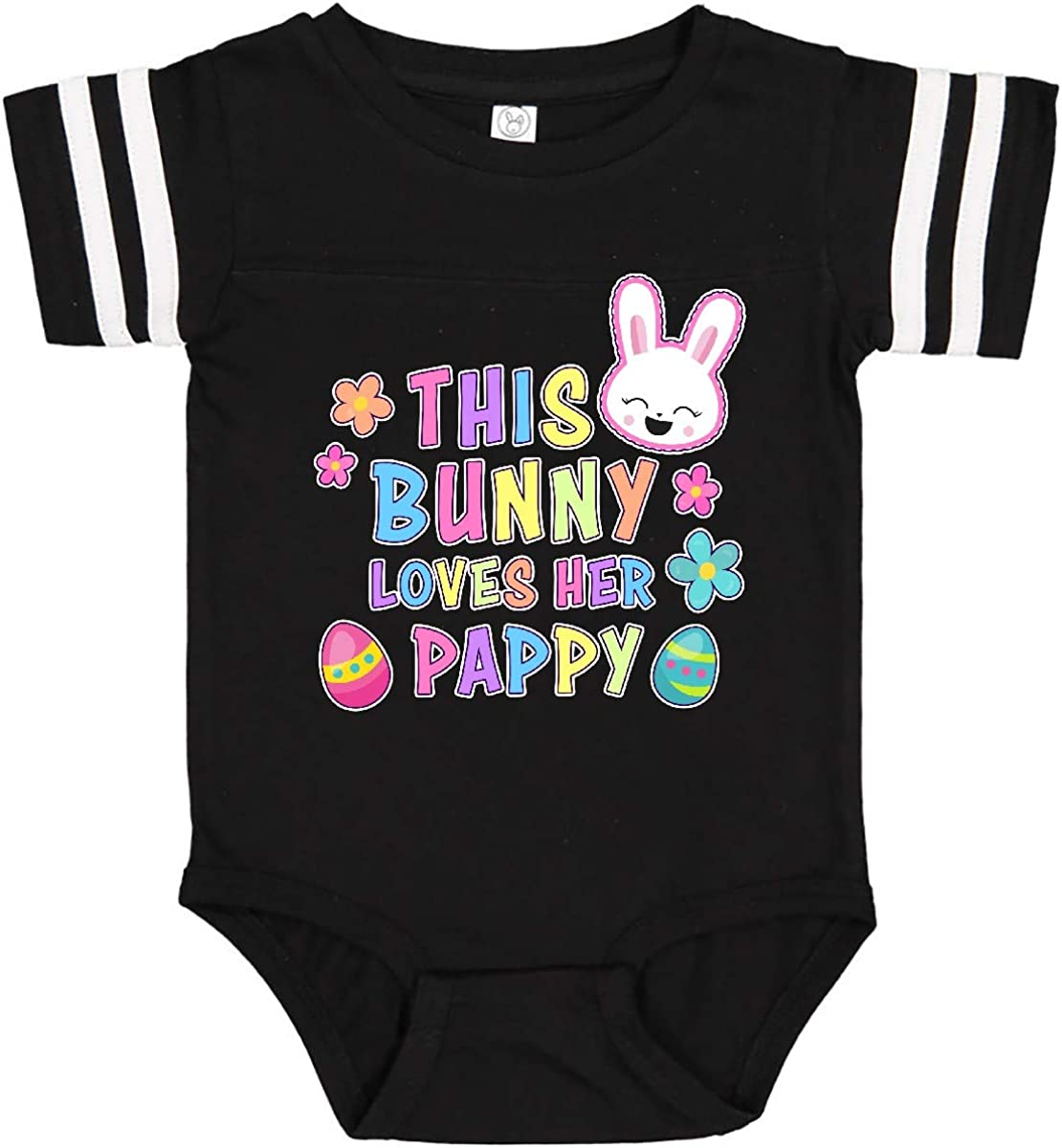 inktastic This Bunny Loves Her Pappy with Bunny Face and Flowers Infant Creeper