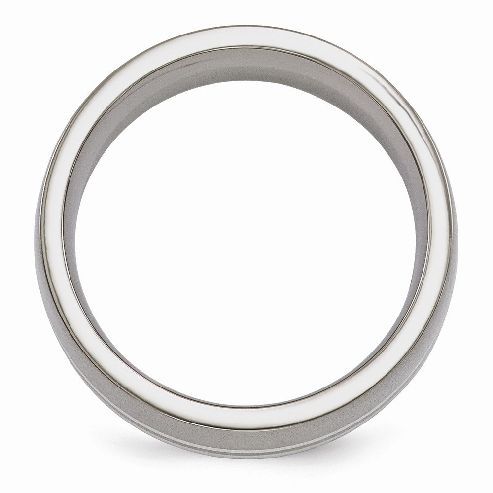 Mens Jewelry and Accessories Rings Wedding Bands Edward Mirell Titanium and Sterling Silver Brushed 9mm Band Size 9.5