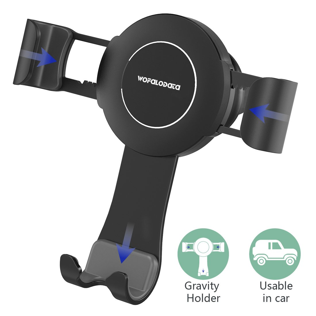 Wofalodata Cell Phone Holder for Car, Car Air Vent Phone Mount Cradle with Auto Lock Release for iPhone X/8/8 Plus/7/7 Plus/6/6S, Samsung Galaxy S8/S7/S6, Nexus, HUAWEI and others(Black)