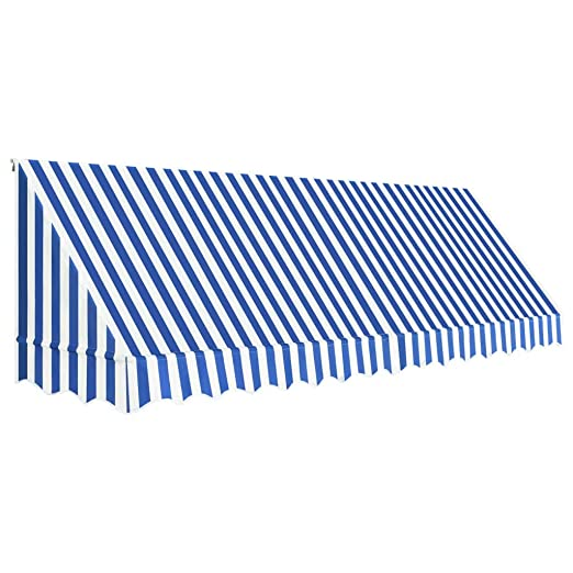 Tidyard Toldo Para Bar Toldo Terraza Toldos Impermeables Exterior De Tela Con Revestimiento De Pa Azul Y Blanco 400 X 120 Cm