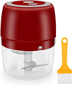 Wireless Portable Mini Food Chopper, Electric Small Food Processor, Portable Fruit Blender Mixer Chops Vegetables, Nuts, Garlic & Onion Meat Mincer Grinder for Baby Food Rechargeable, 400ml (Red)