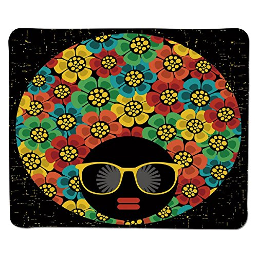 Mouse Pad Unique Custom Printed Mousepad [ 70s Party Decorations,Abstract Woman Portrait Hair Style with Flowers Sunglasses Lips Graphic Decorative,Multicolor ] Stitched Edge Non Slip -