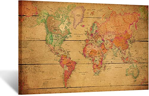 Kreative Arts Large Size Vintage Brown World Map Wall Art Framed Art Print Picture Wall Decor Home Interior