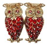 L. Erickson Crystal Owl Brooch - Siam/Light Siam/Antique Gold