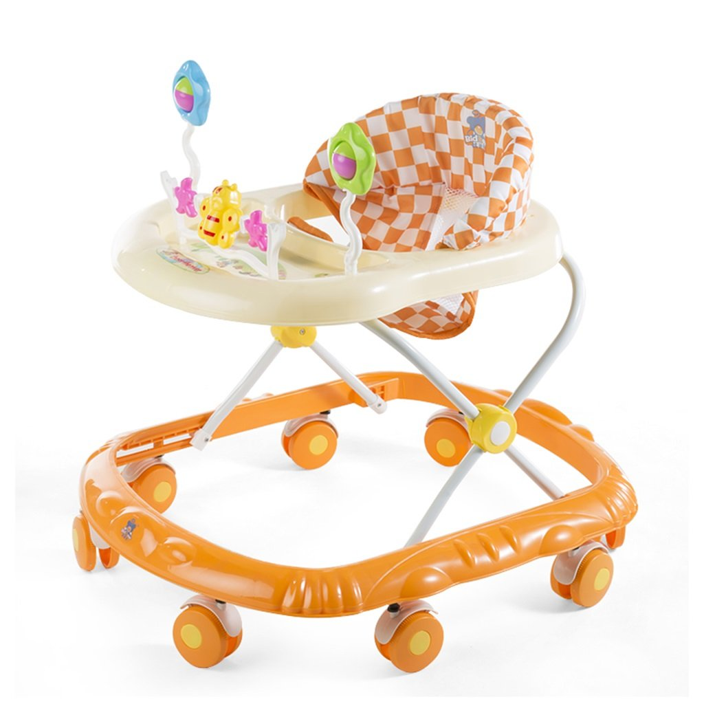 HAIZHEN マウンテンバイク ベビーウォーカーブルー/ピンク/オレンジ6-18ヶ月子供アンチロールオーバ多機能折りたたみ音楽ビッグホイールでおもちゃトロリー66 * 56 * 57センチメートル 新生児 B07DMP4SMCオレンジ