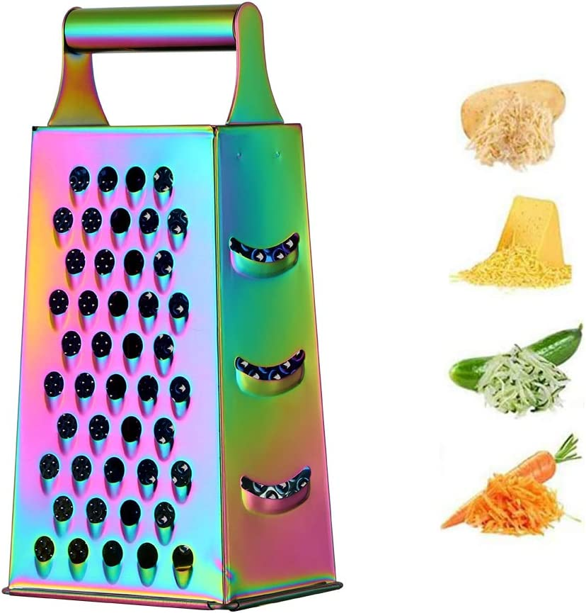 Large Box Grater,4-Sided Stainless Steel Food Slicer,Slip Handle& Easy To Clean,for Potato Fruit Cheese Ginger Vegetables Cucumber Carrot (Symphony)