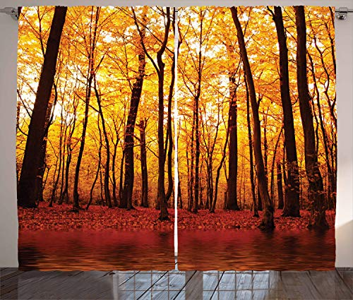Ambesonne Nature Curtains, Forest Trees in The Fall with Orange Warm Leaves Lake Woodsy Design Farmhouse, Living Room Bedroom Window Drapes 2 Panel Set, 108 W X 84 L Inches, ()
