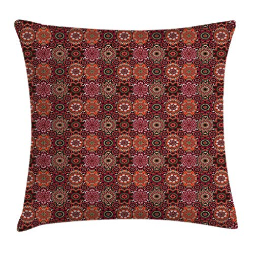 Ambesonne Moroccan Throw Pillow Cushion Cover, Vintage Tile Design with Oval Motifs Ottoman Mandala Figures Ornamental, Decorative Square Accent Pillow Case, 36 X 36 Inches, Green Vermilion - Cover 36 Ottoman