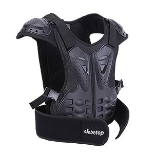 Webetop Veste de protection Dorsale Enfant Gilet de protection pour Moto/Sport Moto Veste Armure Complète du Corps Protection de Colonne Poitrine Epaule Noir S