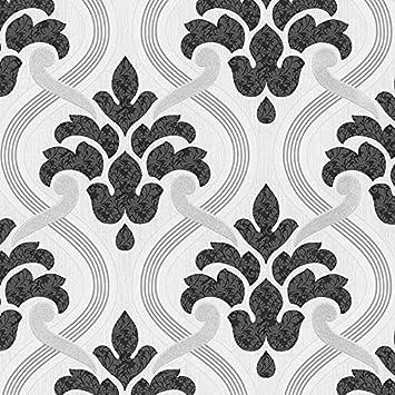 P S Memphis Damask Muster Blumenmotiv Gepragt Glitzer Vinyl Tapete