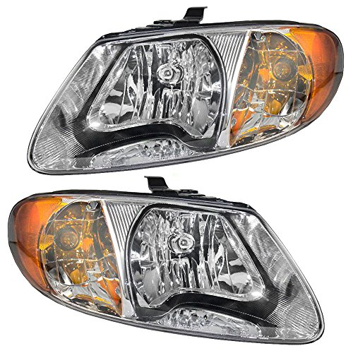 (Headlights Headlamps Driver and Passenger Replacements for Dodge Caravan Chrysler Town & Country Voyager Van 4857701AC 4857700AC)