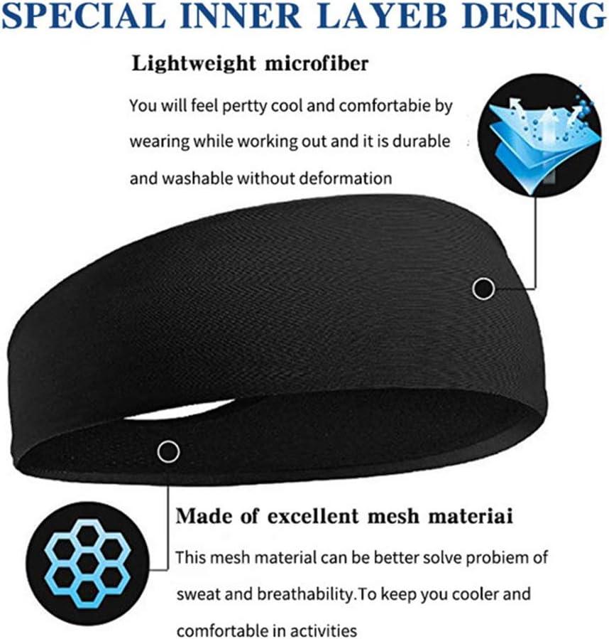 2 Pieces OonlyoO Sports Headband Unisex Elastic Sweat Wicking Non-Slip Headband Running Sports Travel Fitness Cycling