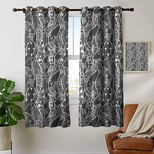 petpany Bedroom Curtains 2 Panel Sets Gothic,Vintage Royal Composition with Rose Flowers and Hearts Valentines Day Inspired, Black White,Complete Darkness, Noise Reducing Curtain 42