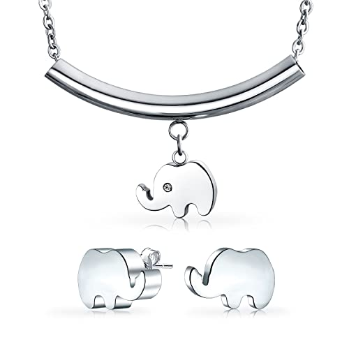 e9efa1a02de19 Amazon.com: Zoo Animal Lucky Elephant Pendant Necklace Stud Earring ...
