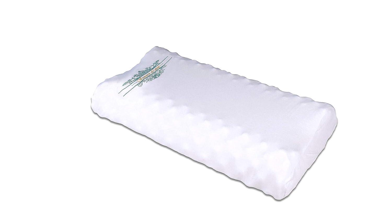 Suvarn Massage-SP2 Naturlatex Kissen - Bio Latex Contour Nackenkissen mit Massagebuckel, Doppelte Kontur, ideal für Nackenschmerzen, Reisen, Tiefschlaf (Massage-SP2-58x35x8 10CM)