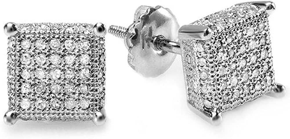 Dazzlingrock Collection 0.50 Carat (ctw) White Real Diamond Ice Cube Dice Shape Mens Hip Hop Iced Stud Earrings 1/2 CT