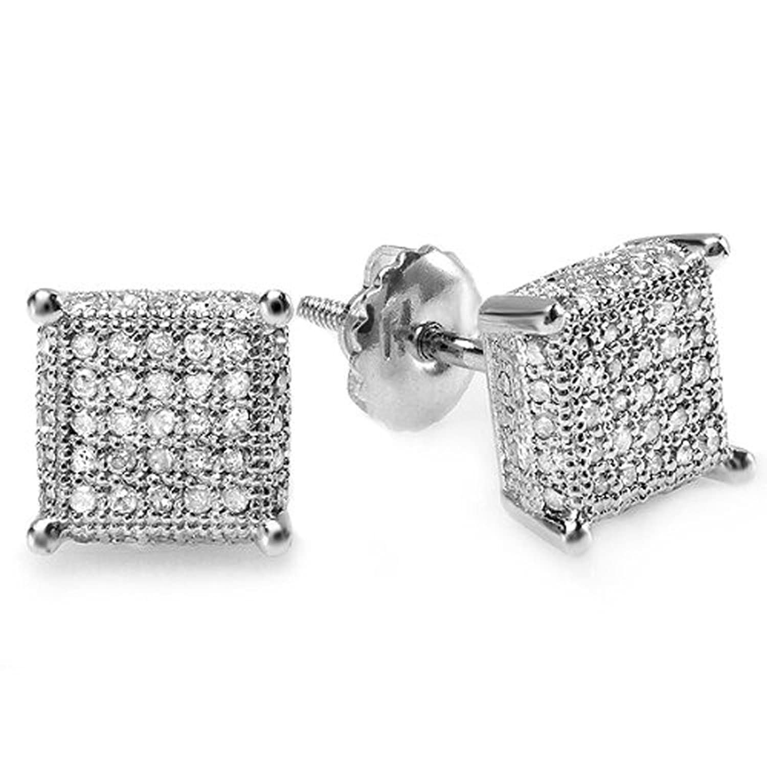 gold earring men square pave diamonds s wh mens single diamond stud