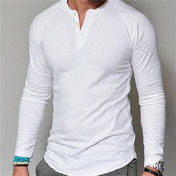 Rcdxing Estilo simple Camiseta blanca con cuello redondo y manga larga para hombres para el hombre (Color : White, tamaño : M): Amazon.es: Ropa y accesorios