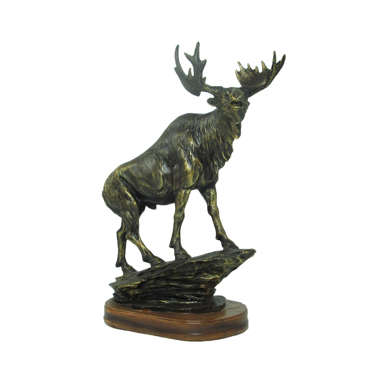Bronzed Animal Collection Standing Moose with Wooden Base Figurine