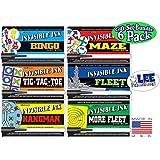 "Invisible Ink: Yes & Know Game Books ""Bingo"", ""Tic-Tac-Toe"", ""Hangman"", ""Maze"", ""Fleet"" & ""More Fleet"" Activity Books Gift Set Bundle - 6 Pack"
