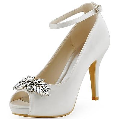 0c3f0059b46 ElegantPark HP1544I Women Pumps Peep Toe Leaves Clips Rhinestones Platform  Stiletto Wedding Bridal Shoes White US