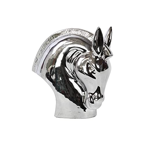 Urban Trends Ceramic Horse Head Polished, Silver