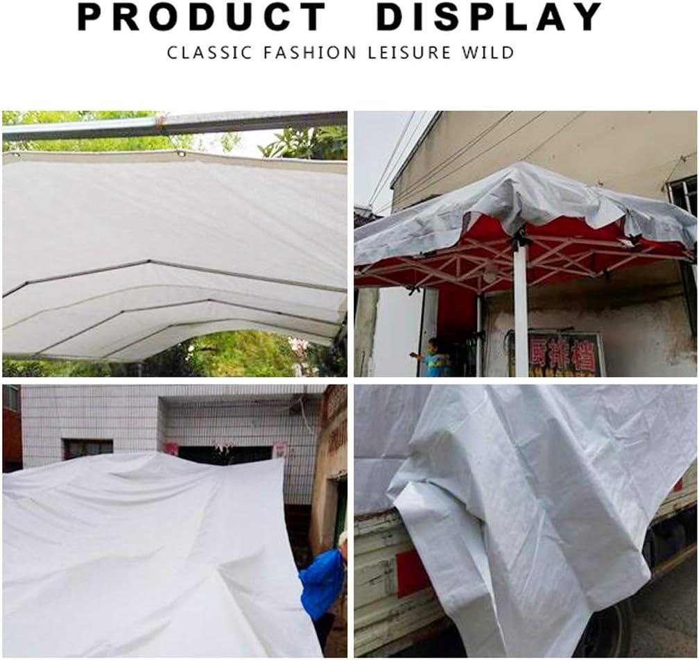 Lona Al Aire Libre Sombrilla Paño de plástico Lona Gruesa Coche Jardín Camping Impermeable Tela a Prueba de Humedad Material de Polietileno Doble Impermeable Lona Blanca 6X4M