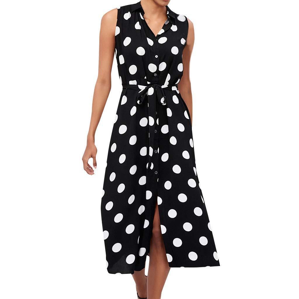 Women Polka Dot Chiffon Dress,Female Fashion Summer Bohemian Lightweight V Neck Waist Lace Up Sleeveless Mid-Calf Dresses by Dacawin_Women Dress
