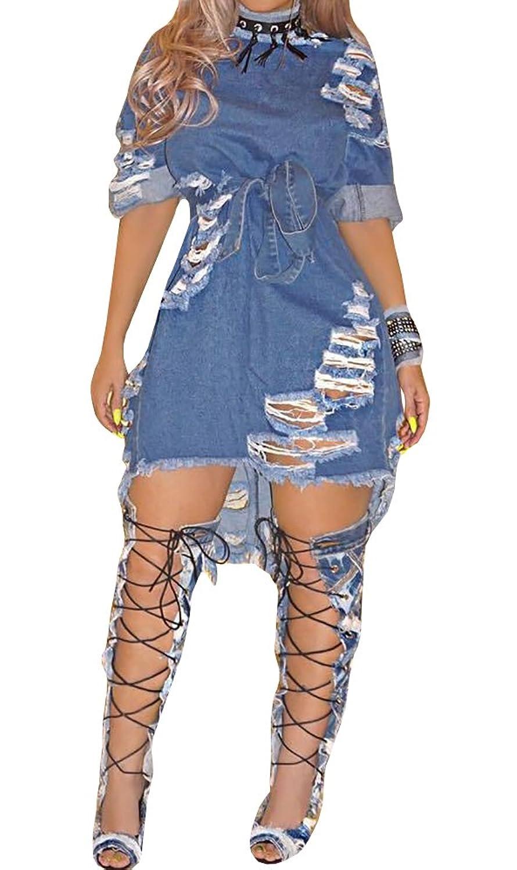 7a9e7c63d3 Imily Bela Women s Summer Half Sleeve Ripped Hole Distressed Denim Mini  Dress Clubwear at Amazon Women s Clothing store