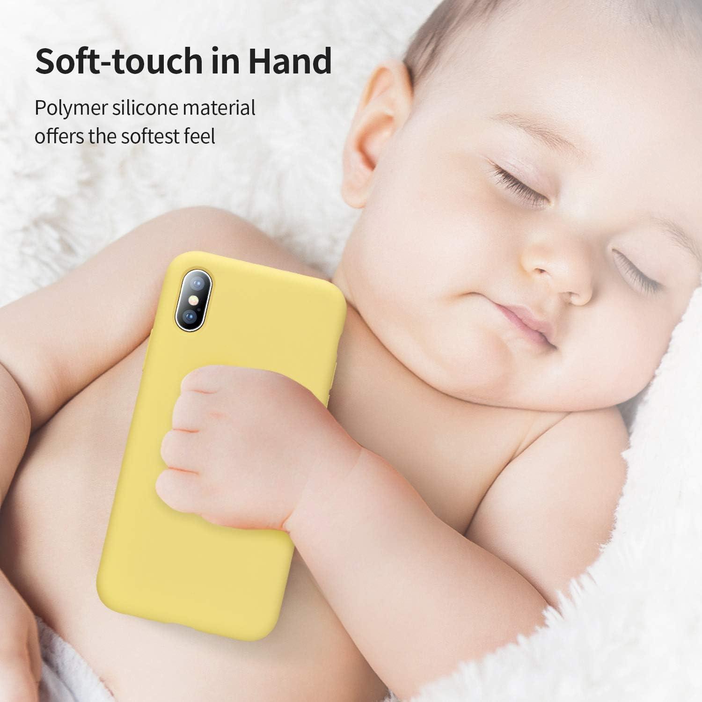Totalmente Protectora Funda de Goma de Gel de Silicona L/íquida a Prueba de Golpes Suave.ELA Microfibra Funda para iPhone X//XS-Amarillo SmartDevil Funda para iPhone X//XS+Protector de Pantalla,