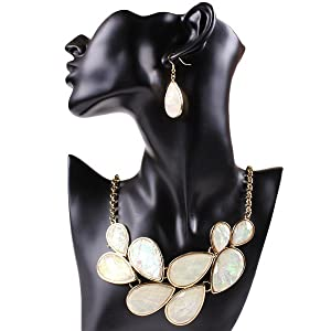 ARICO 18K Gold Plated Jewelry Jets Resin Necklace set Earrings Leave Purple Jewelry Set NB302