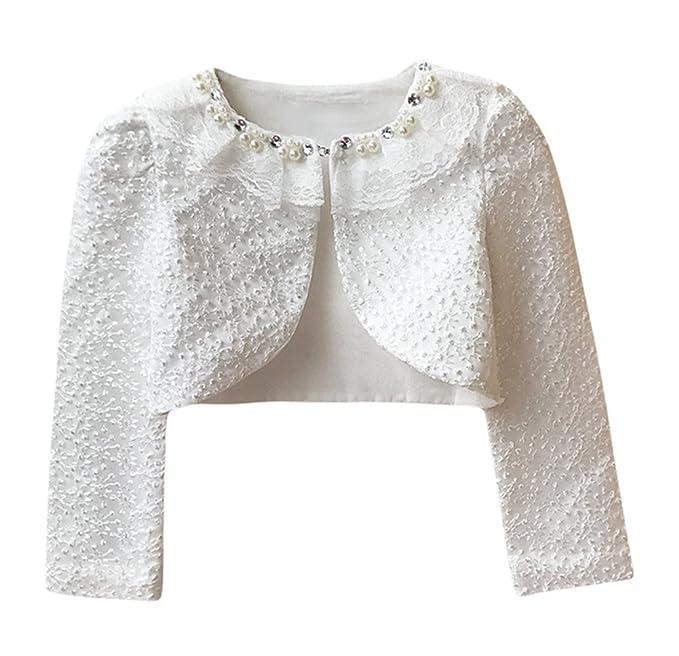 c53c85758caa Amazon.com  Baby Little Girls  Long Sleeve Lace Bolero Cardigan ...