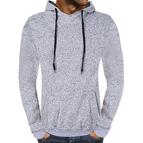 Mens Long Sleeve Blouses Clearance Men's Casual Autumn Solid Hooded Sweatshirt Outwear Tops Blouse By WEUIE(XL, Gray ) by WEUIE