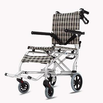 Silla de Ruedas para Ancianos Coche discapacitado para Ancianos Carretilla pequeña Carro para Compras de comestibles Carro Ultraligero Luz Plegable Portátil ...