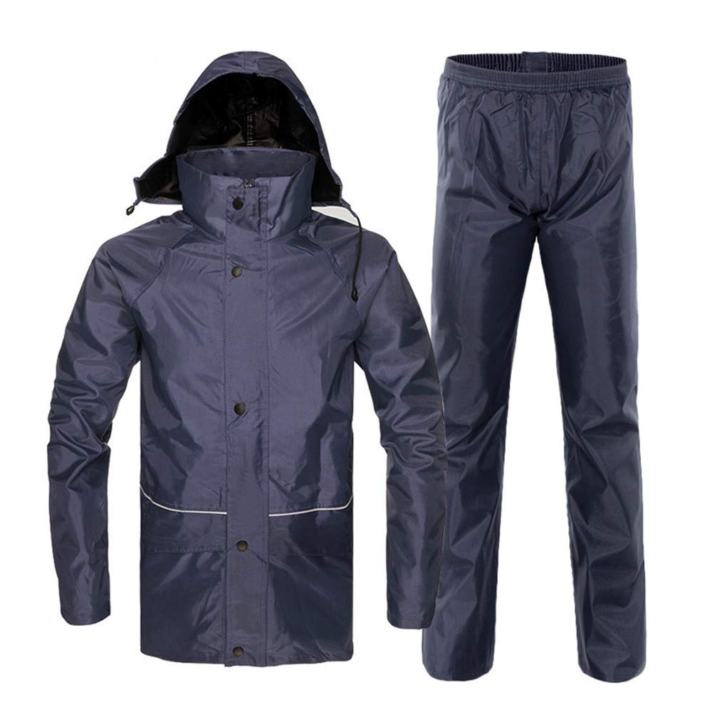 Navy bluee XX-Large Men's camping waterproof jacket Waterproof Rain Jacket Hooded Poncho Suit Motorcycle Rain Coat Pants Set Predective Gear For Work Outdoor Activity Breathable mountain jacket windproof outdoor