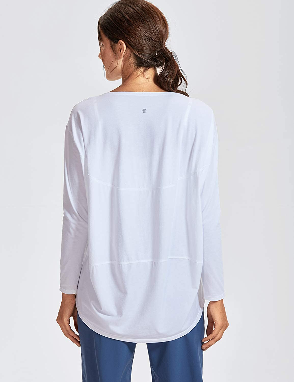CRZ YOGA Damen Sport Shirt Lang/ärmliges T-Shirt Relaxed Fit Fitness Laufshirt