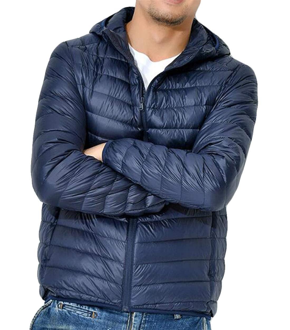 Domple Men Short Lightweight Warm Hooded Packable Down Jacket Coat Outerwear