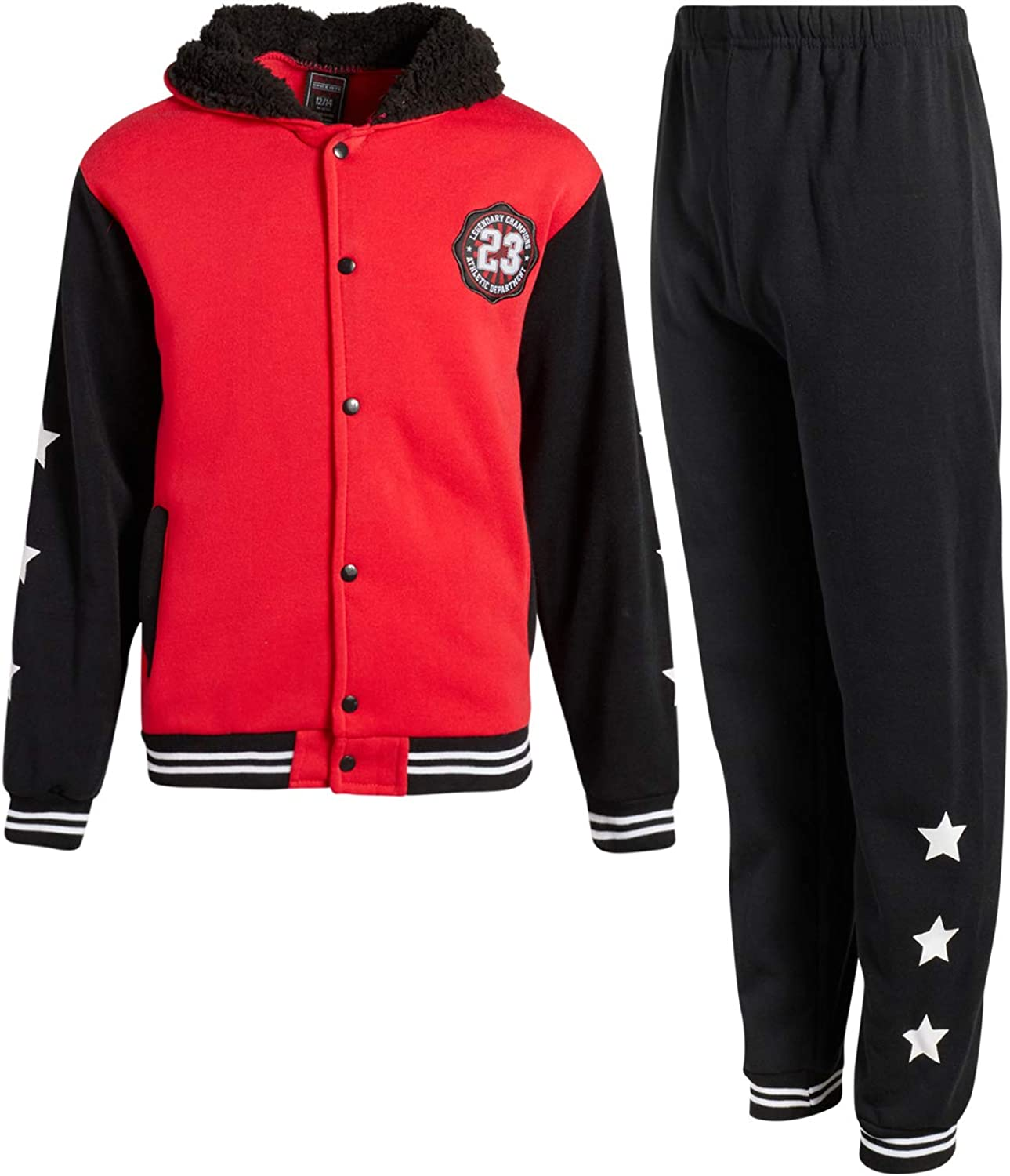 Quad Seven Boys 2-Piece Athletic Fleece Jogger Set with Sherpa Lined Hoodie