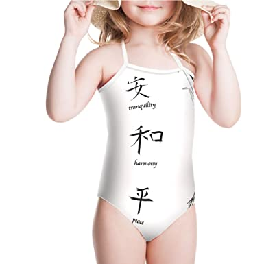 Amazon Iprint Swimsuit For Girls Chinese Symbols For