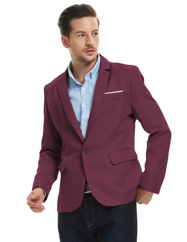 56aa1480be7f Pishon Mens Blazer Jacket Lightweight Casual Slim Fit One Button Sport  Jackets