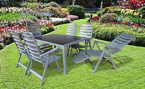 Dacore 7 Juego de calentamiento wetterfeste Muebles de Jardín Grupo Sky, 2 y 4 – Sillón relax fabricado en Alemania POEL y un jardín mesa 140 x 90 en plata, de la Casa Mfg: Amazon.es: Jardín
