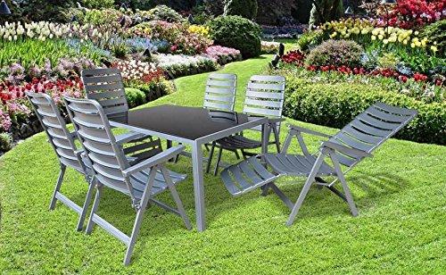 7-teilige absolut wetterfeste Gartenmöbelgruppe Sky, 2 Relaxsessel und 4 Klappsessel MADE IN GERMANY Poel und ein Gartentisch 140x90 in silber, aus dem Hause MFG und Dacore