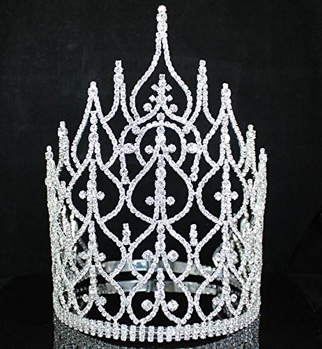 Beauty Queen Crown Tiara Clear Austrian Rhinestone Crystal Pageant Large T1413 by royal*wedding