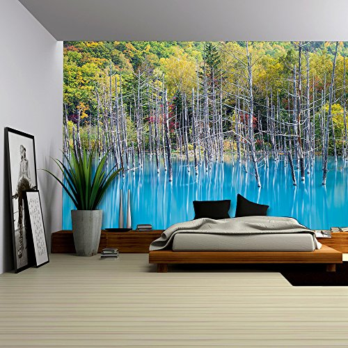 wall26 - Blue Pond Aoiike in Biei, Hokkaido - Removable Wall Mural | Self-adhesive Large Wallpaper - 100x144 inches