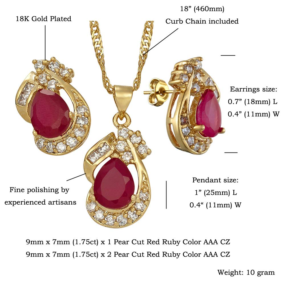 77fe5bf24 Amazon.com: RIZILIA Pear Cut Red Ruby White Gold Plated Jewelry Set,  Pendant with 18