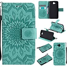 Lomogo [Flower Embossing] Huawei Y6 Pro Leather Wallet Case with Kickstand Credit Card Holder Magnetic Closure Shockproof Flip Case Cover for Huawei Y6 Pro / Enjoy 5 (Green)