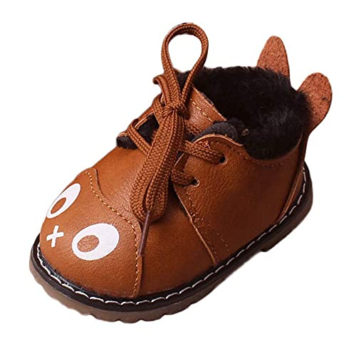 Botas Bebé Unisex de Nieve de Niñas Niños Más Terciopelo de PU de Dibujos Animados Zapatos de Bebé Botines Calentar Acogedor Botines Infantiles Suela de ...