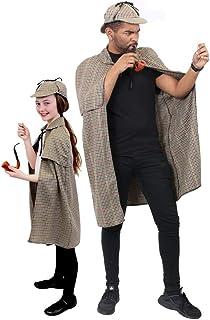 600bed83a682f SHERLOCK HOLMES FANCY DRESS ACCESSORY SET LINED DEERSTALKER HAT +…