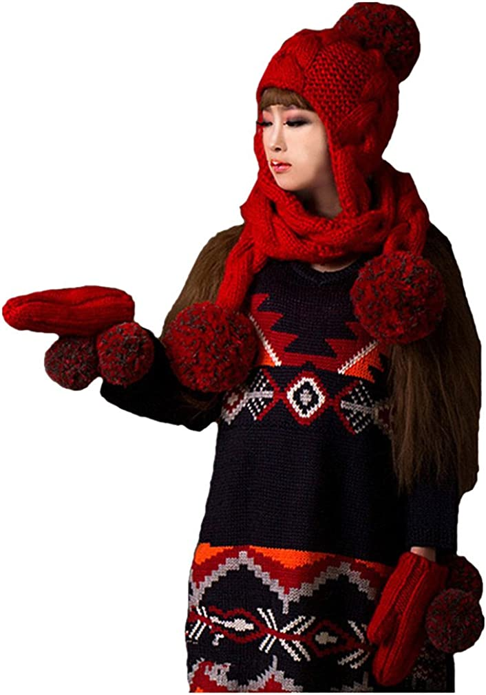 ALLDECOR 2PCS Winter Warm Suits Red Scarf Hat 100/% Handmade Knitted Beanie Cap